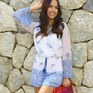 Japna Boho Long Sleeve Chiffon Blue White Floral